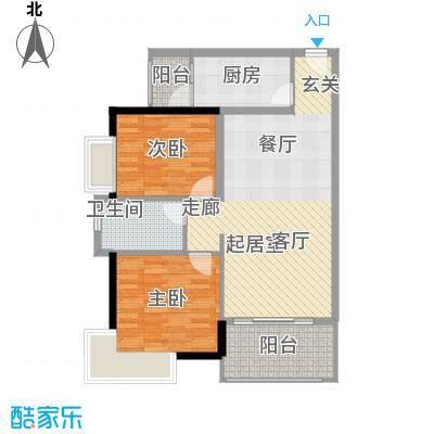 盈彩美居82.42㎡云彩轩1―6座E单元户型