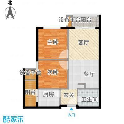 佛奥康桥水岸75.06㎡国际公寓B1型两阳台户型