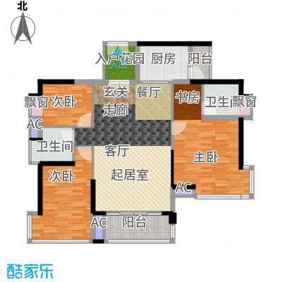 鸿基花园二期B栋偶数层01单元3室户型