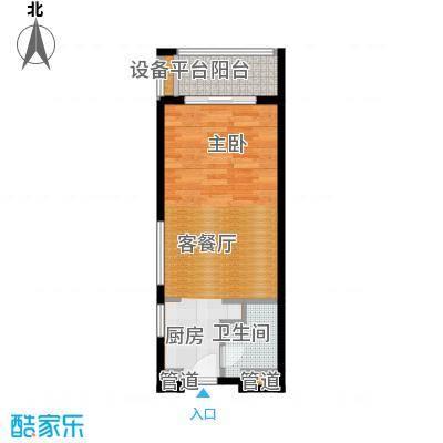 佛奥康桥水岸40.70㎡国际公寓A2型一阳台户型