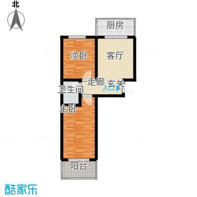 神奇庭院户型2室1厅1卫1厨