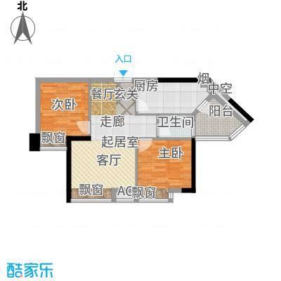 东方水岸68.00㎡瀚江庭01单位平面图户型