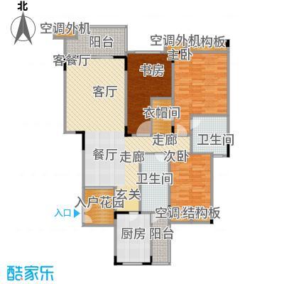 福江・名城名城112.00㎡一期5号楼2单元3层2号房3室户型