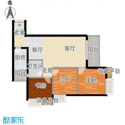 重庆金山美林76.22㎡一期1号楼标准层13号户型