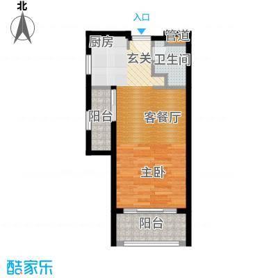 佛奥康桥水岸47.83㎡国际公寓A1型双阳台户型