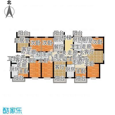 湖光景致住宅多层3-6层层平面1梯3-4户户型