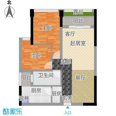 鸿基花园二期B栋偶数层04、05单元2室户型