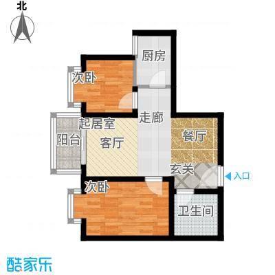 唐宫尚品73.39㎡在售唐樾H双卧双飘窗紧凑型户型