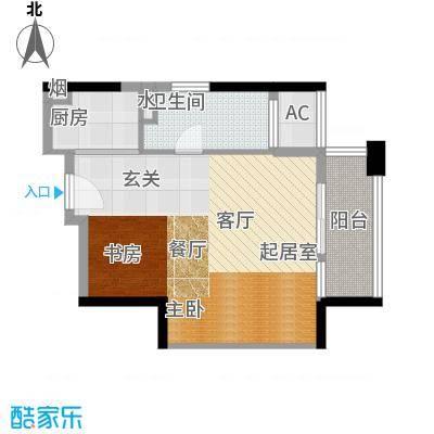 高德置地广场68.06㎡朱美拉公寓四期17层09单位东向户型