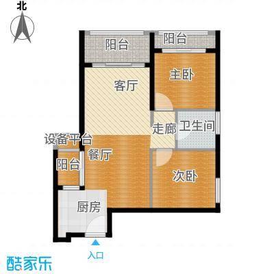 佛奥康桥水岸79.64㎡国际公寓B2型三阳台户型