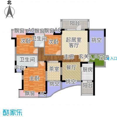 碧河花园户型3室2卫1厨