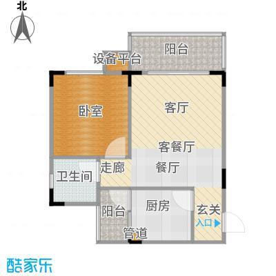 松竹苑44.13㎡ABC栋12单元标准层14号房1室户型