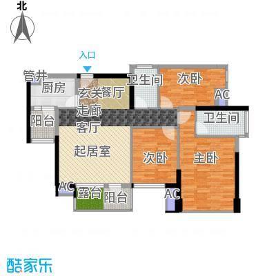 鸿基花园二期B栋奇数层02、07单元3室户型