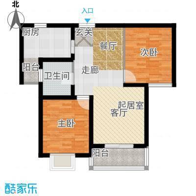 昆明花园82.01㎡在售在售悦湖公馆1B36米阳台方正布局户型