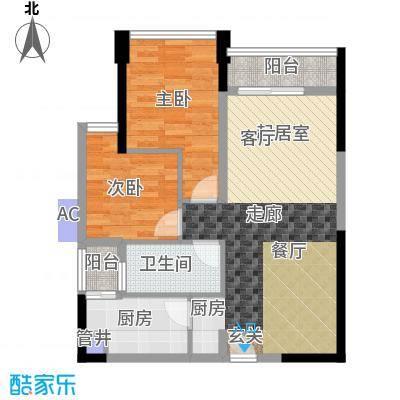 鸿基花园二期B栋奇数层04、05单元2室户型
