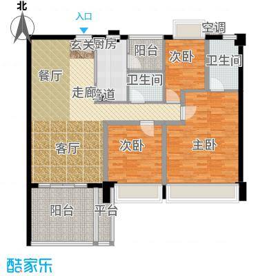 时代花生户型3室1厅2卫1厨
