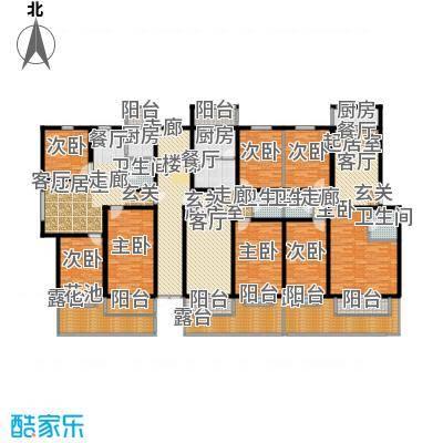 湖光景致住宅多层2层层平面1梯2户户型