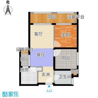 佛奥康桥水岸73.72㎡国际公寓B型三阳台户型
