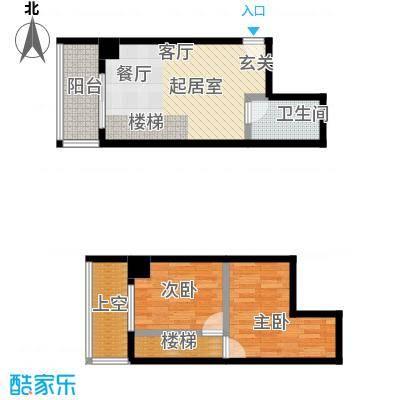 银河国际住宅户型2室1卫