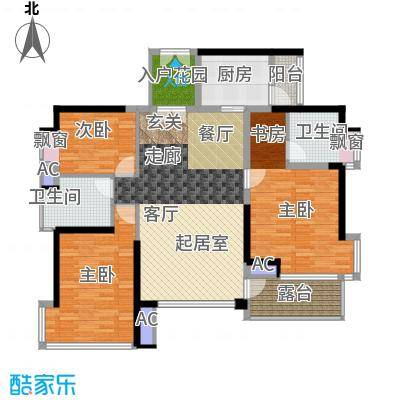 鸿基花园二期B栋奇数层01单元3室户型