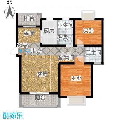 琴韵华庭户型2室1厅2卫1厨