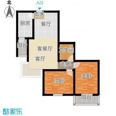 水映兰庭户型2室1厅1卫1厨