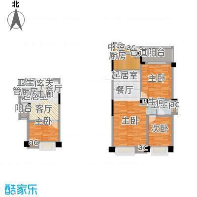 中江国际花城户型3室2卫1厨