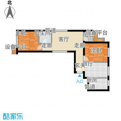东洲家园90.00㎡4、6号楼中间户E户型
