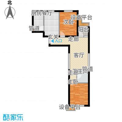 东洲家园90.00㎡4、6号楼中间户F户型