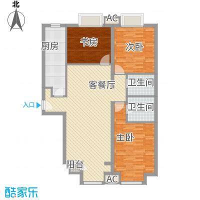 万年花城一期127.26㎡12#楼a2面积12726m户型