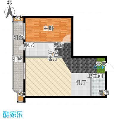 富贵园91.00㎡三期2#二层k3a面积9100m户型