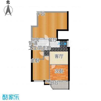 富贵园88.00㎡三期1#六层D2面积8800m户型