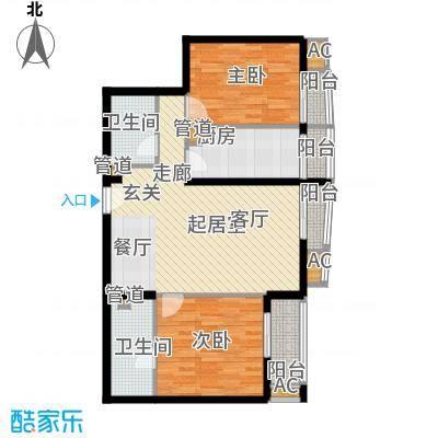 中海城香克林110.87㎡T-2B面积11087m户型