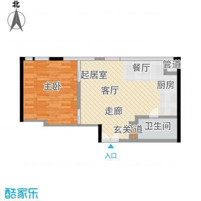华贸国际公寓64.03㎡D座03型面积6403m户型