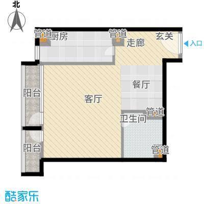 华贸国际公寓66.27㎡E座03型面积6627m户型