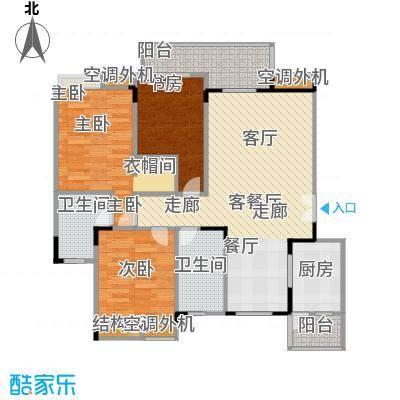 福江・名城名城94.39㎡一期1号楼2单元2层2号房3室户型