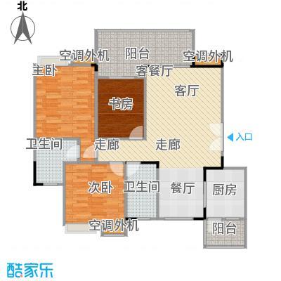 福江・名城名城92.05㎡一期1号楼2单元3层2号房3室户型
