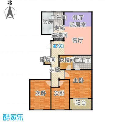 朗诗国际街区户型3室2卫1厨