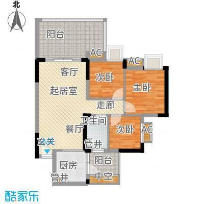 华南碧桂园80.14㎡十年华南组团T6型8号楼4、8、12、16层05户型