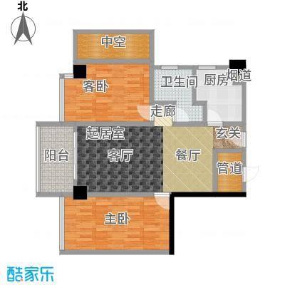 颐和雅轩80.03㎡南塔4-11层0西向户型