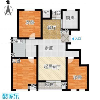 天屋福城户型3室1卫1厨