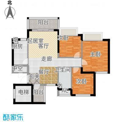 恒大雅苑97.17㎡10-12号楼2单元3-18层1三室户型