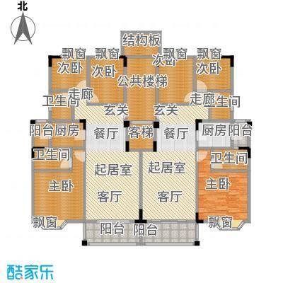 保利林语山庄91.24㎡1C-A-F梯标准层平面图户型