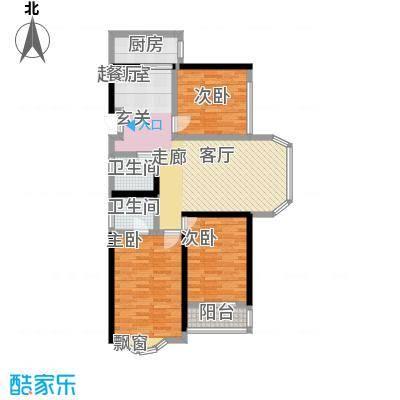 裕阳花园户型3室2卫1厨