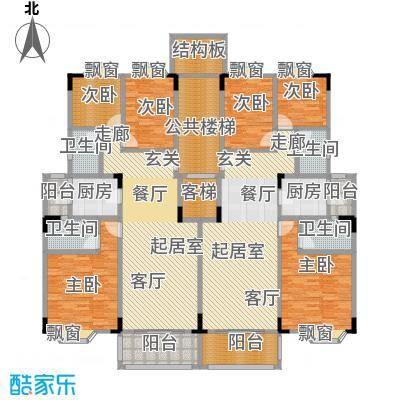 保利林语山庄91.24㎡1C-A-C梯标准层平面图户型
