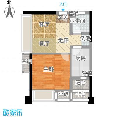 俊峰龙凤云洲户型1室1厅1卫1厨