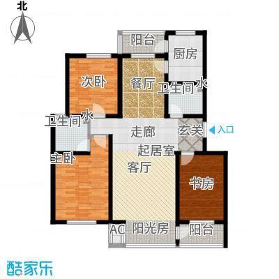 天屋福城户型3室2卫1厨