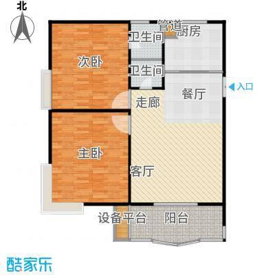 兰天龙湖苑户型2室1厅2卫1厨