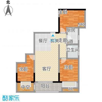 江枫雅居户型3室1卫1厨