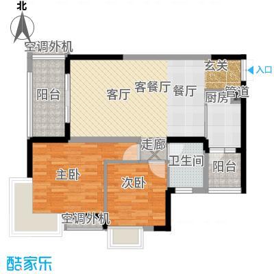 俊峰龙凤云洲户型2室1厅1卫1厨